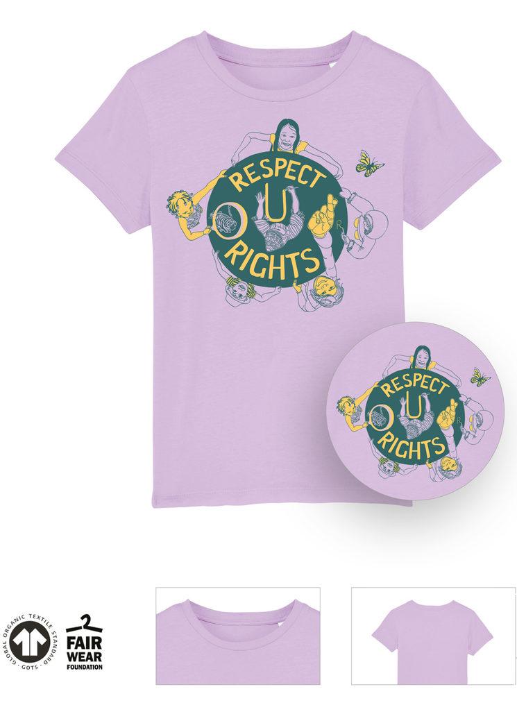 """camisetas de niñ@s en 4 colores. Gráfico """"Respect OUR Rights"""" serigrafiado en petrol y amarillo. No olvidéis de elegir color y talla!"""