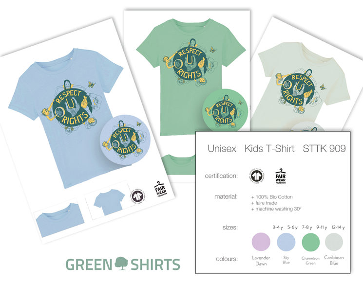 A small assistance to choose your colour and size of the kids t-shirt. Don´t forget to do it!
