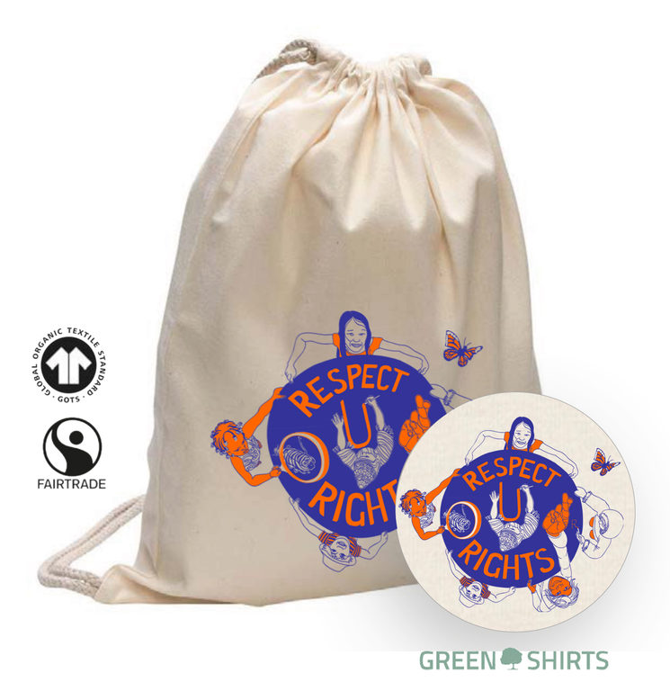 """The drawstring bag is measuring about  32 x 42 cm. It has a natural colour and a silkscreen printed graphic """"Respect OUR Rights"""" in darkblue and orange."""