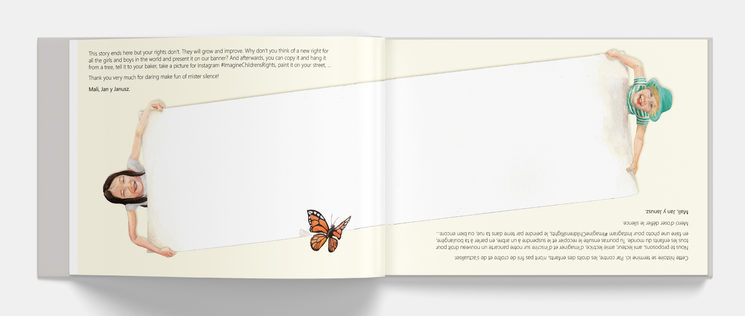 """página central del libro, donde se unen los dos idiomas. """"Llamada a la participación"""""""
