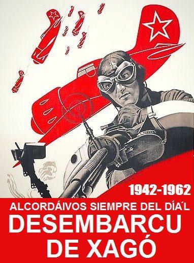 Cartel conmemorativo del desembarco de Xagó