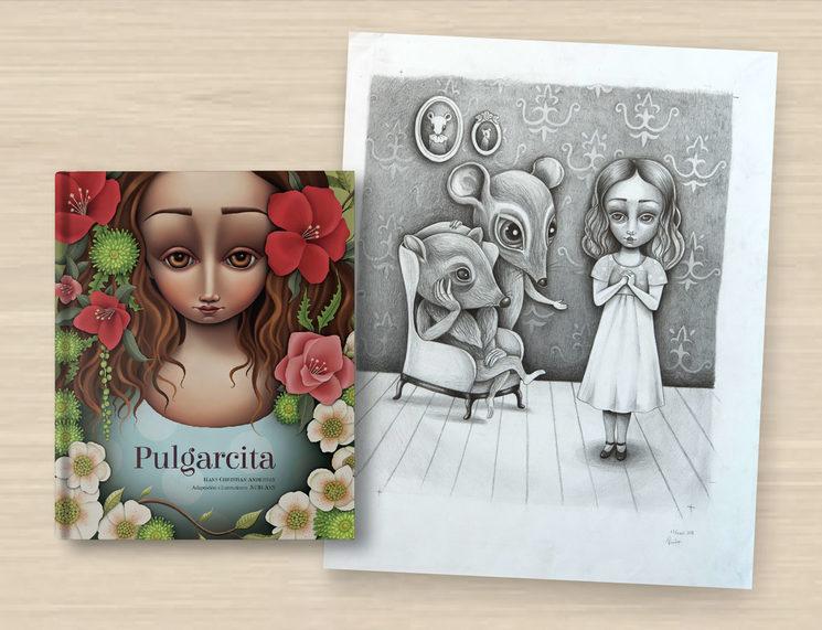 """Libro Pulgarcita & Boceto Original Inédito """"Vida bajo tierra"""""""