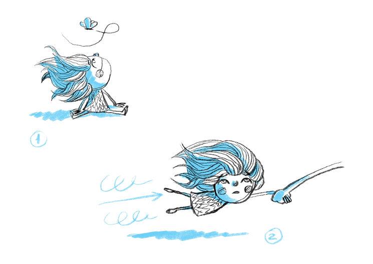Isa, mirando un bichito y volando sin saber dónde va