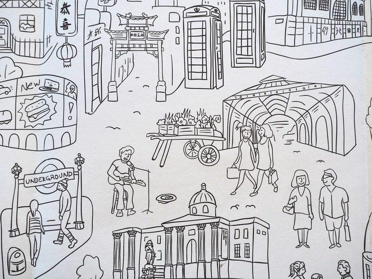 Un detalle del mapa para colorear de Londres