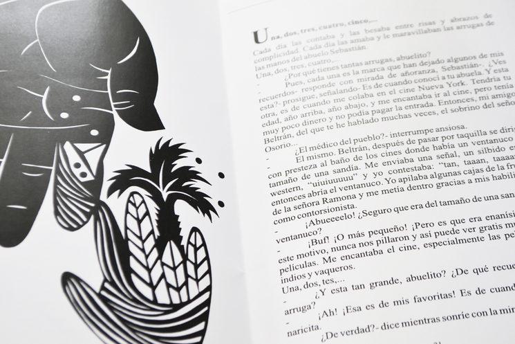 Interior del libro Florilexio, ilustración de Aida Alonso y fragmento del cuento de Elvira Fernández Pena
