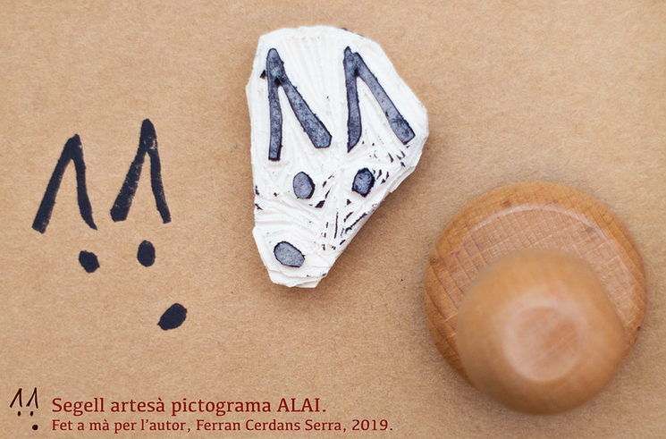 ALAI pictogram stamp, handmade by the author.