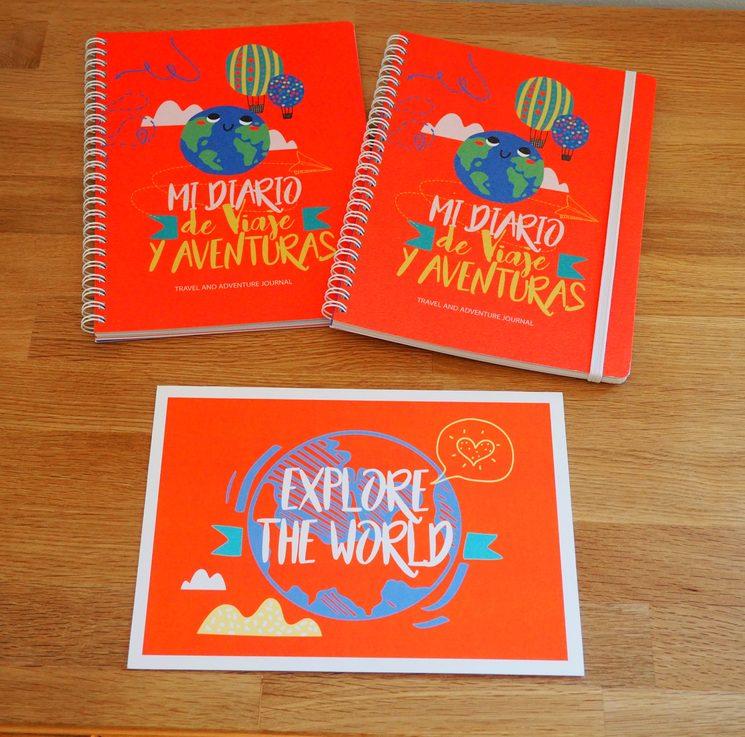 """Diario con y sin goma + postal """"Explore the world"""""""