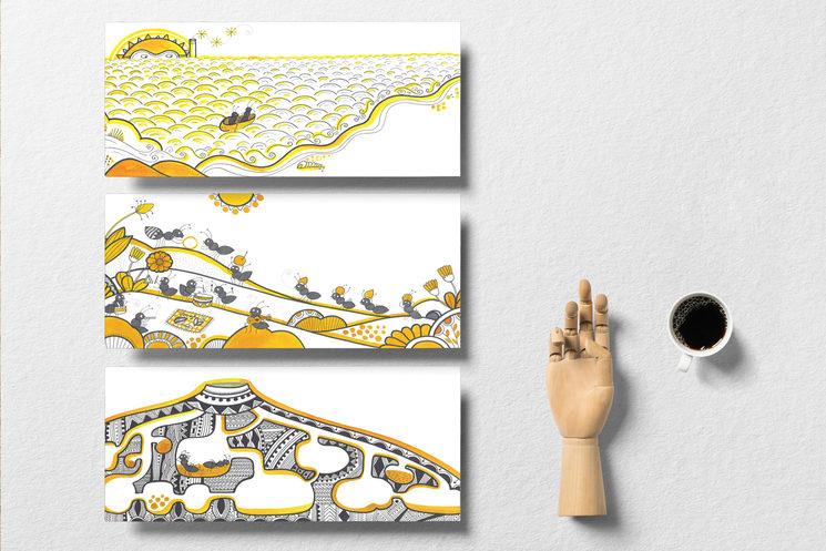 Las láminas de las ilustraciones. 42x18cm