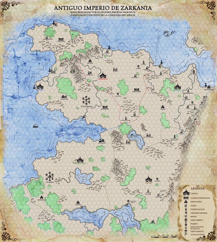Mapa hexagonado antiguo Imperio de Zarkania