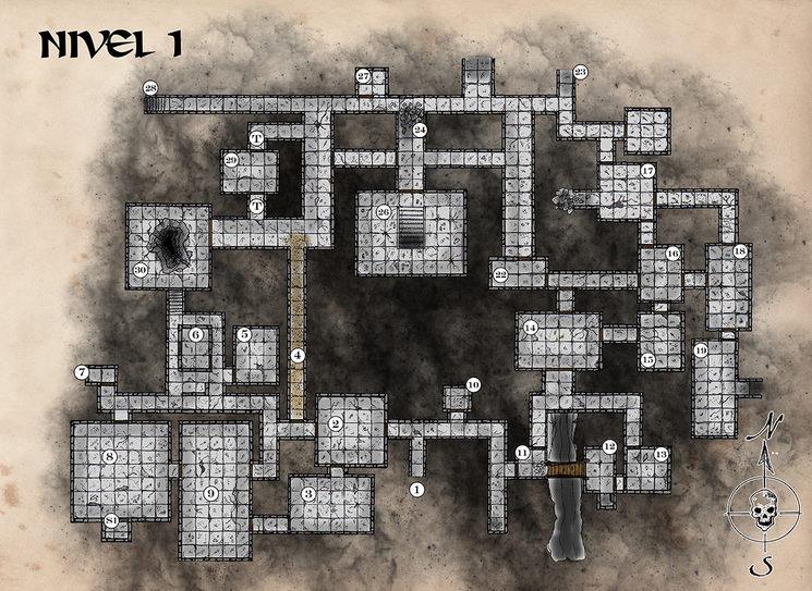Mapa provisional del nivel 1 del megadungeon
