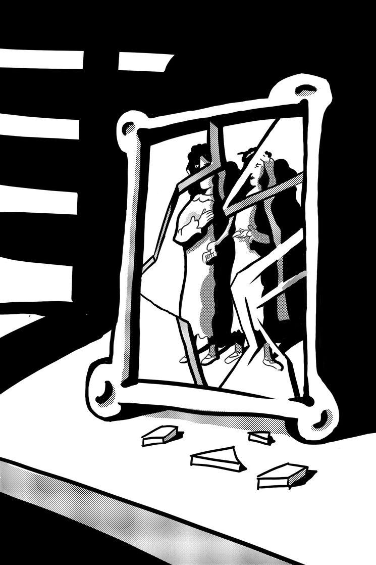 Fotografía con marco roto. Boceto de Jorge M. Meana.