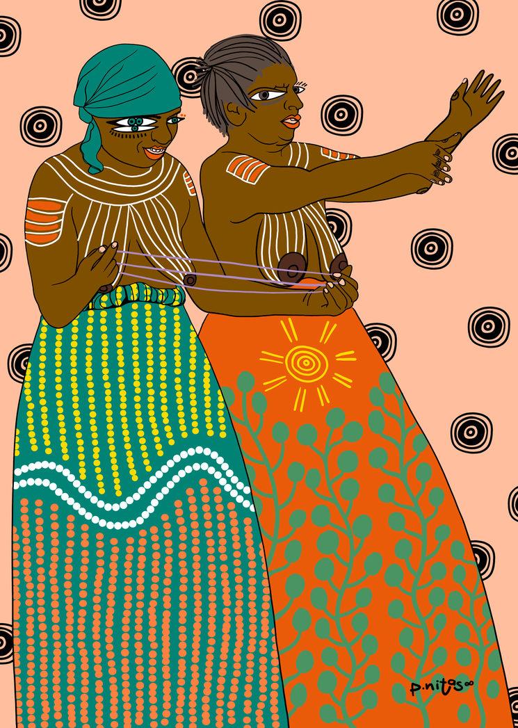Ilustración de mujeres aborígenes de la remota comunidad centroaustraliana de Ampilatwatja celebran una ceremonia pública en 2010 para protestar contra la intervención del Territorio Norte