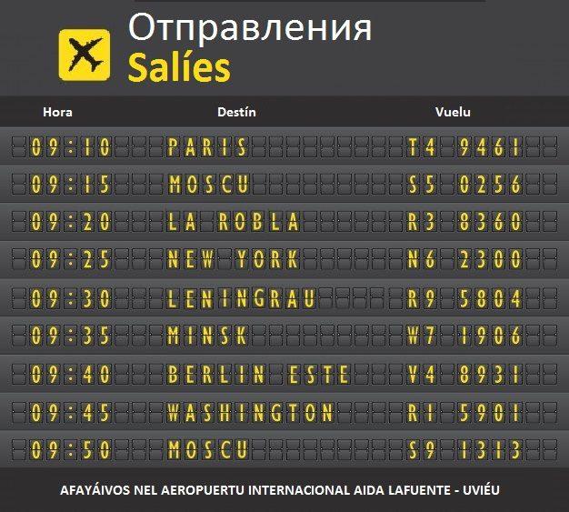 Las pantallas del aeropuerto Aida Lafuente Internacional - Uviéu