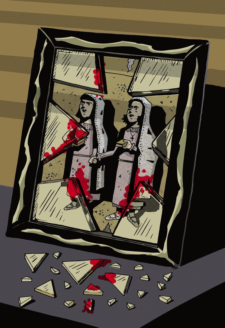"""Lámina """"Niñas"""", obra de Jorge M. Meana"""