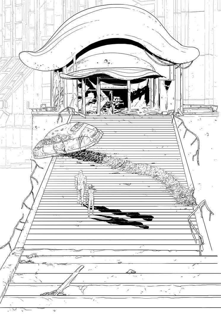 Ilustración en proceso de Sam para el libro.