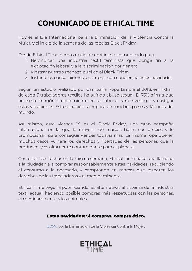 COMUNICADO DE ETHICAL TIME 25N