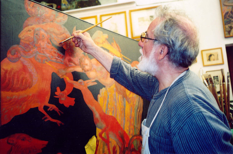 El artista en acción, fotografía del catálogo, Exposición «Mitos y Leyendas de Asturias», Galería Durero, Gijón, 1995