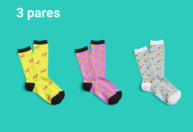 3 pares de calcetines Happy Dogs (25€)