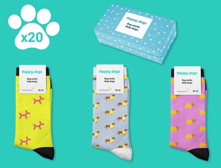 60 pares de calcetines Happy Dogs (360€)
