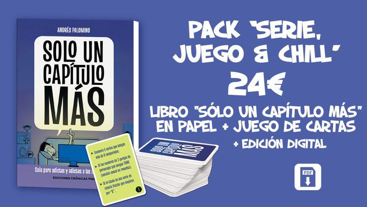 """Por 25€, Pack """"SERIE, JUEGO & CHILL"""":** Libro """"SOLO UN CAPÍTULO MÁS"""" en papel + edición digital + 1 mazo de """"SOLO UN CAPÍTULO MÁS: EL JUEGO DE CARTAS"""""""