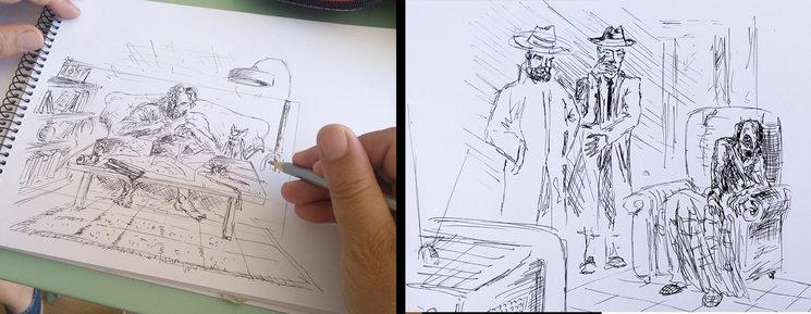 """2 viñetas del storyboard del """"El regalo"""""""