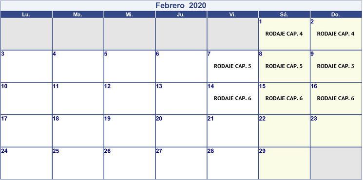 Rodajes Febrero 2020