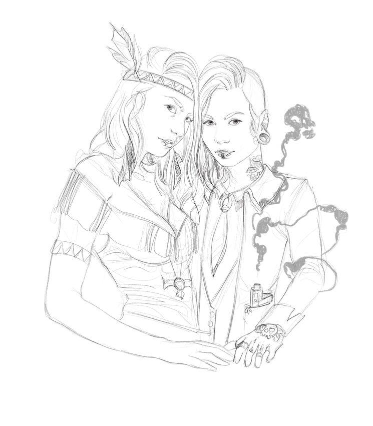 Sacred Spirit (a la izquierda) y Penumbra, boceto por El Asfalto es Blando