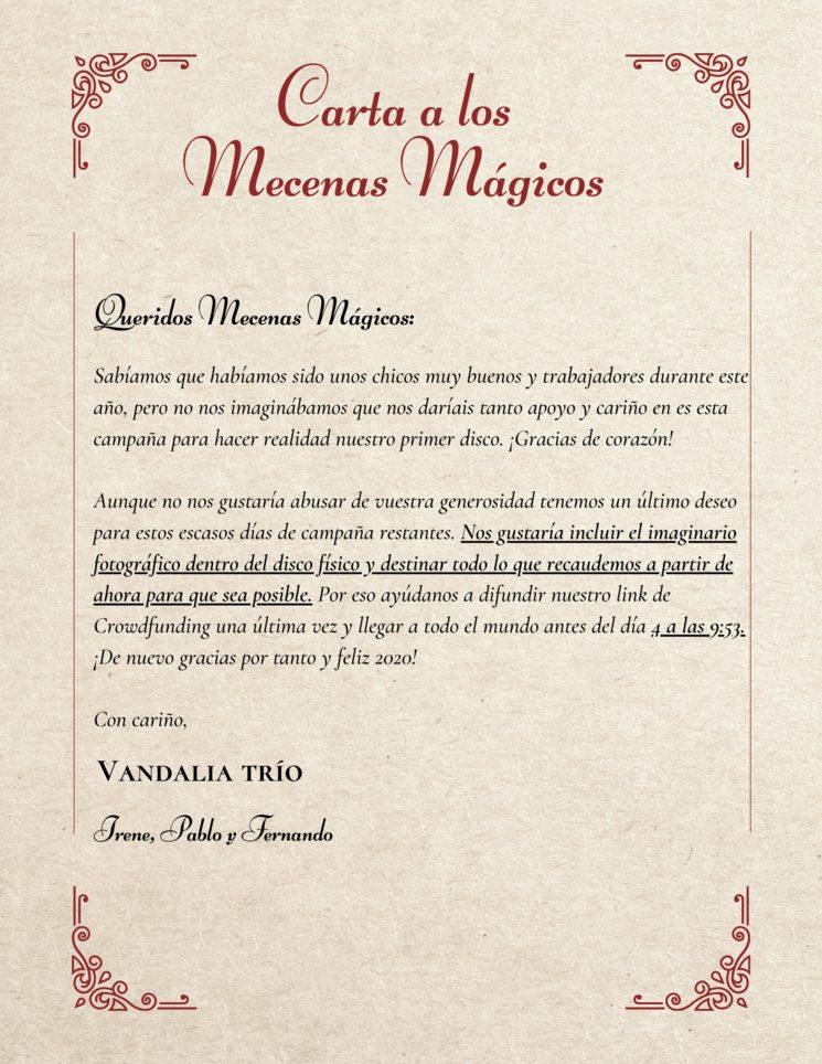 Carta a los Mecenas Mágicos 👑