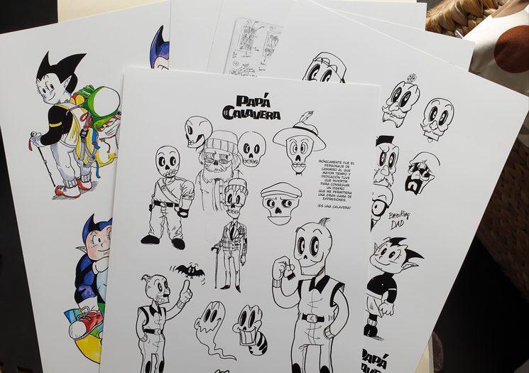 En las láminas de bocetos he intentado incluir un pequeño texto explicando el proceso de creación.