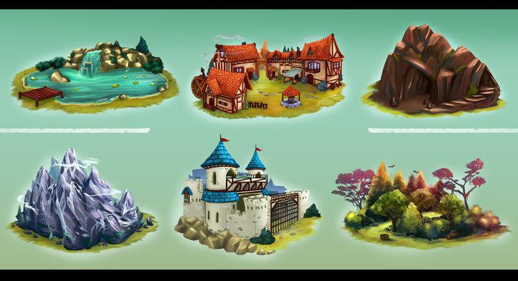 Hi ha 6 tipus de terreny que poden sortir a les Cartes de Regió. Les Dèries estan relacionades amb els tipus de terrenys de les Cartes de Regió.