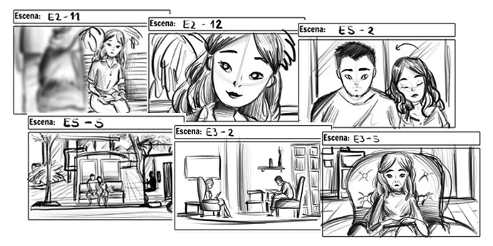 Some frames from our storyboard