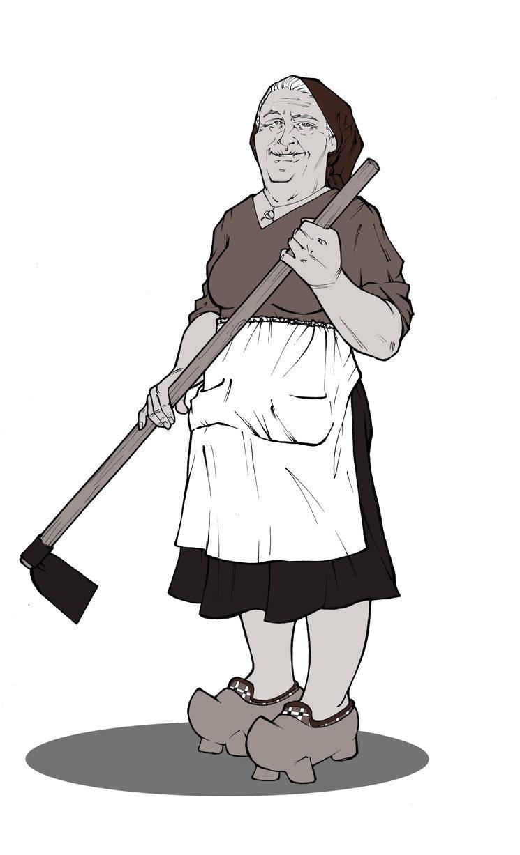 Olaya, un personaje prediseñado de la partida introductoria. Es la más veterana del grupo y la jefa. Luchó en 1934 y 1942 y ahora teje sus redes de contraespionaje