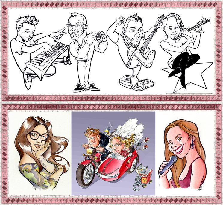 Ejemplos de caricaturas a blanco y negro y color