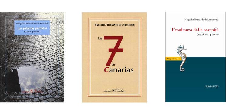 Portadas de Las palabras perdidas, Editorial Verbum (2002). Las siete en Canarias, Editorial Verbum (2014) y L'esultanza della serenitá, Edizioni ETS (2010)
