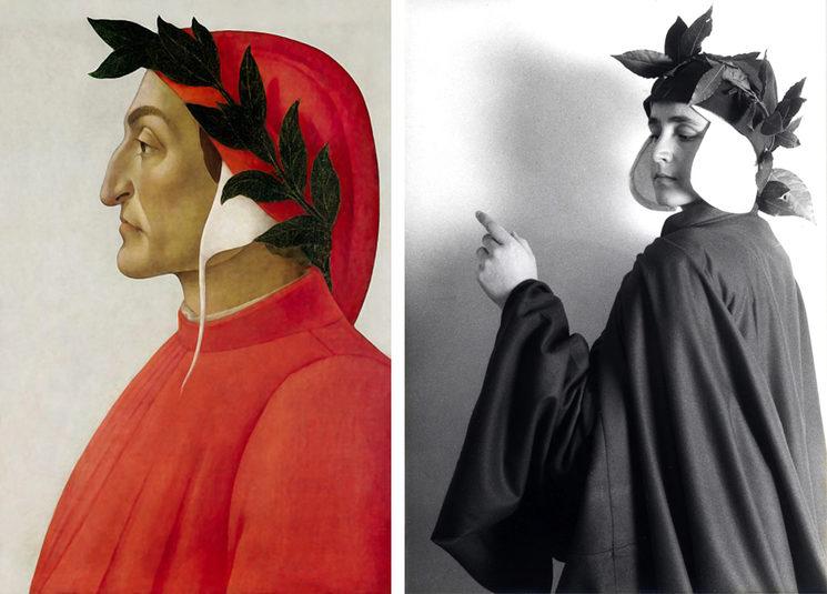 IZQUIERDA: Dante Alighieri por Sandro Botticelli DERECHA: Margarita Hernando de Larramendi. Pisa, 1990