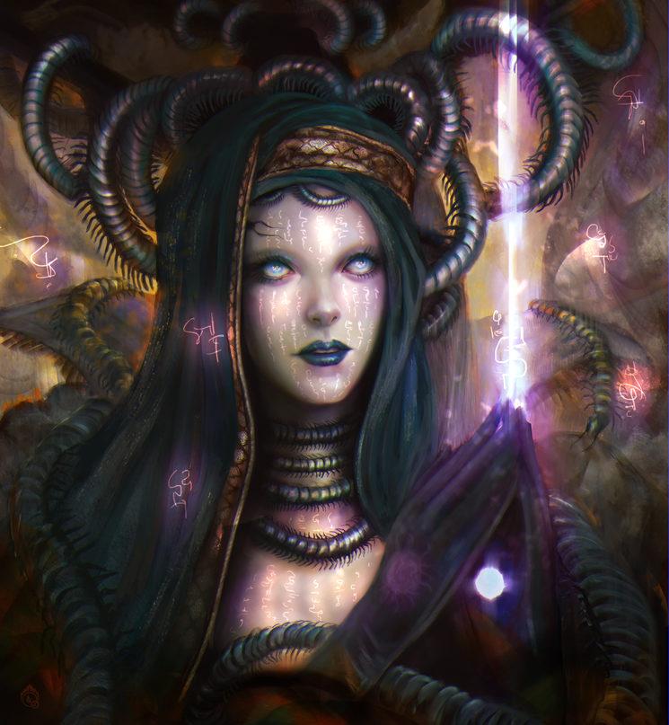 Una sacerdotisa entrando en trance para invocar poderes oscuros