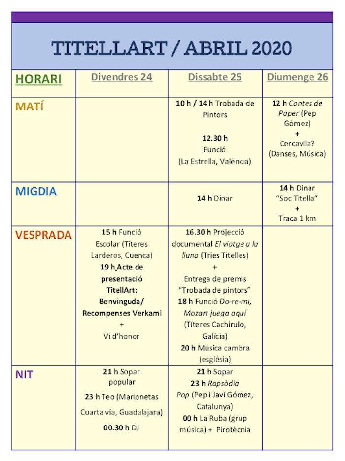 Calendari TitellArt 2020