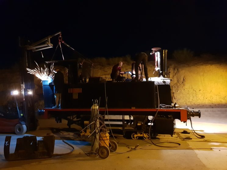 Night work, taking out the cabin and dome, August 2019