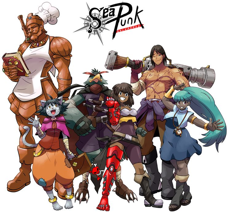 Esta tripulación, los Piratas del Puño Rojo, es solo un pequeño ejemplo de la clase de personajes que pueden construirse y jugarse con SPU. Ilustración por Onofre Marín González.