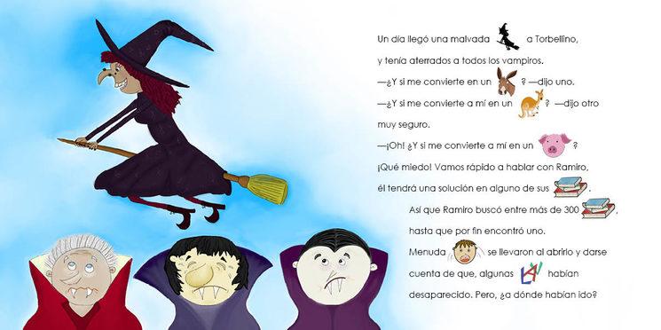 """Otra doble página de muestra del libro. En esta ocasión, del cuento de """"El vampiro Ramiro"""""""