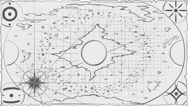 Arte del prototipo conceptual del mapamundi de SPU, por Pedro Paul.