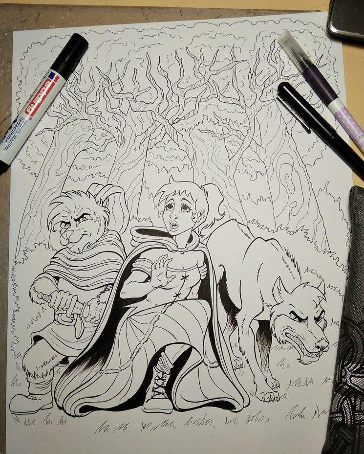 Ilustración original a tinta tamaño A3 realizada por Meik Cobain