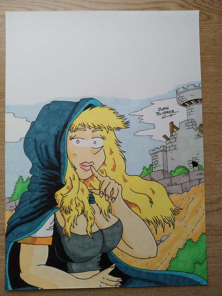Tercera ilustración de Jenna a color.
