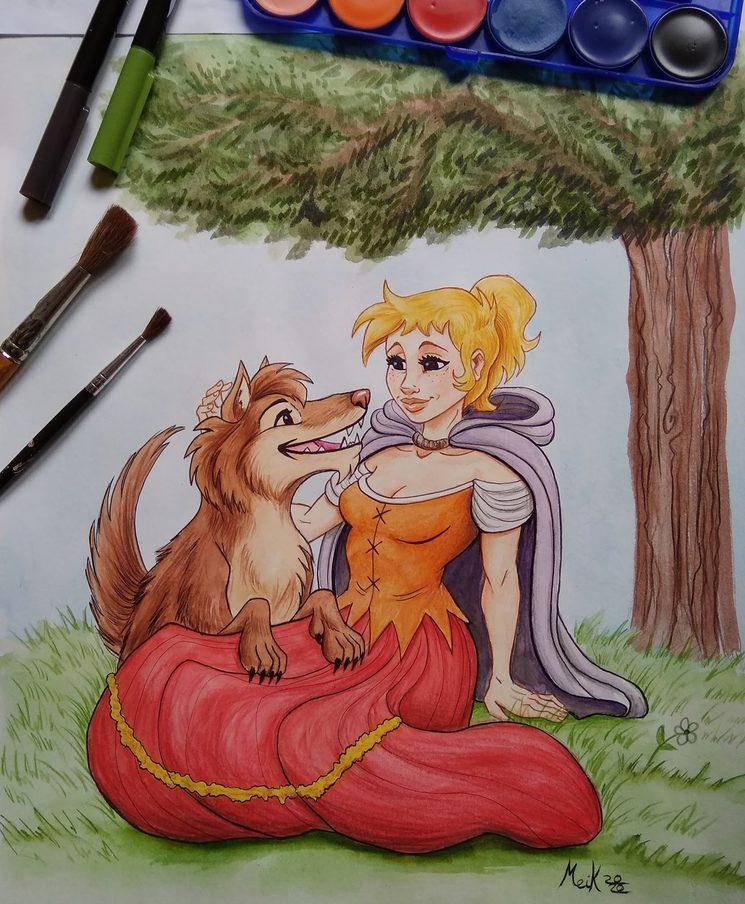 Ilustración de Meik Cobain de los personajes Rachel y Sombra