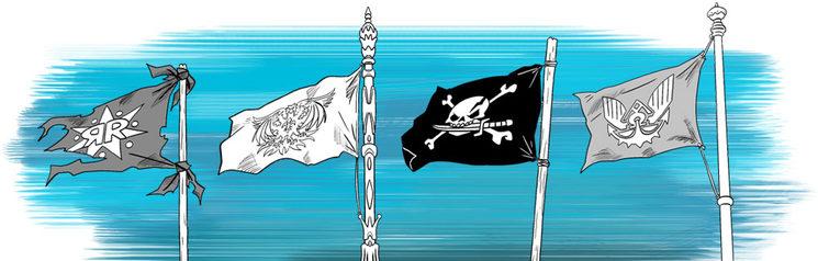 Banderas: rebelde, imperial, pirata y de la armada, ilustradas por Onofre Marín González.