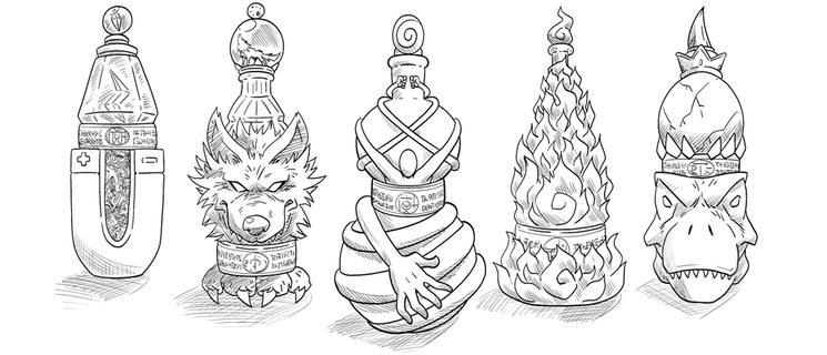 Elixires Demoníacos, de izquierda a derecha: Magnetoelixir, Lupuelixir, Gomaelixir, Ignoelixir y Tiranoelixir;  ilustrados por Onofre Marín González.