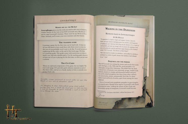 Muestra de maqueta de Lovecraftesque sobre el texto en inglés.