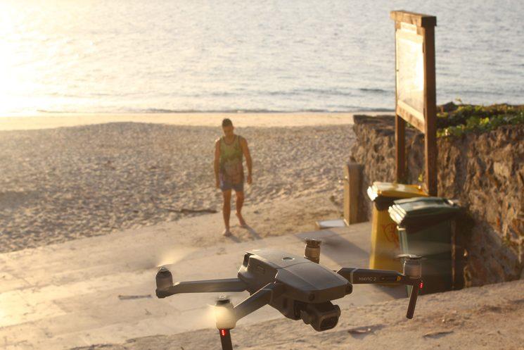 Grabando con dron en la playa de Mogor (Marín, Pontevedra)