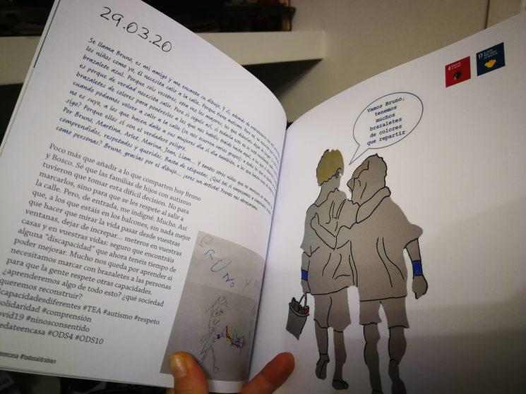 Bruno, amigo de Bosco de Donosti, tiene autismo y no dudó en sumarse con su dibujo el día que hablamos de los Brazaletes Azules