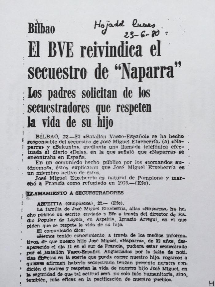 BVE revindicó el secuestro y asesinato
